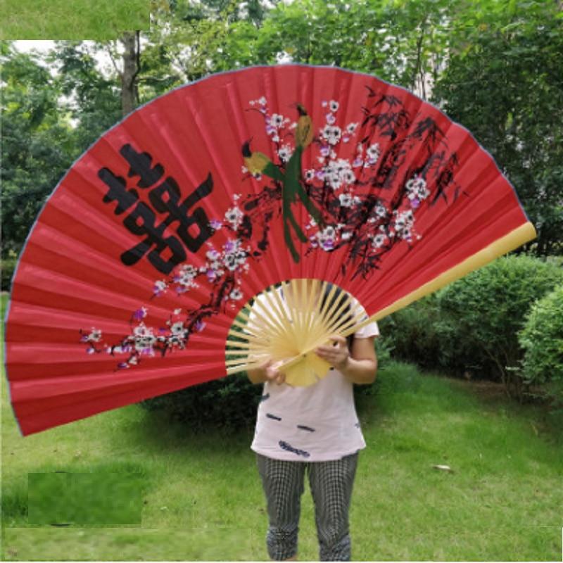Hanging Fan Decorative Fan Chinese Style Craft Silk Cloth Fan Large Folding Fan Living 3