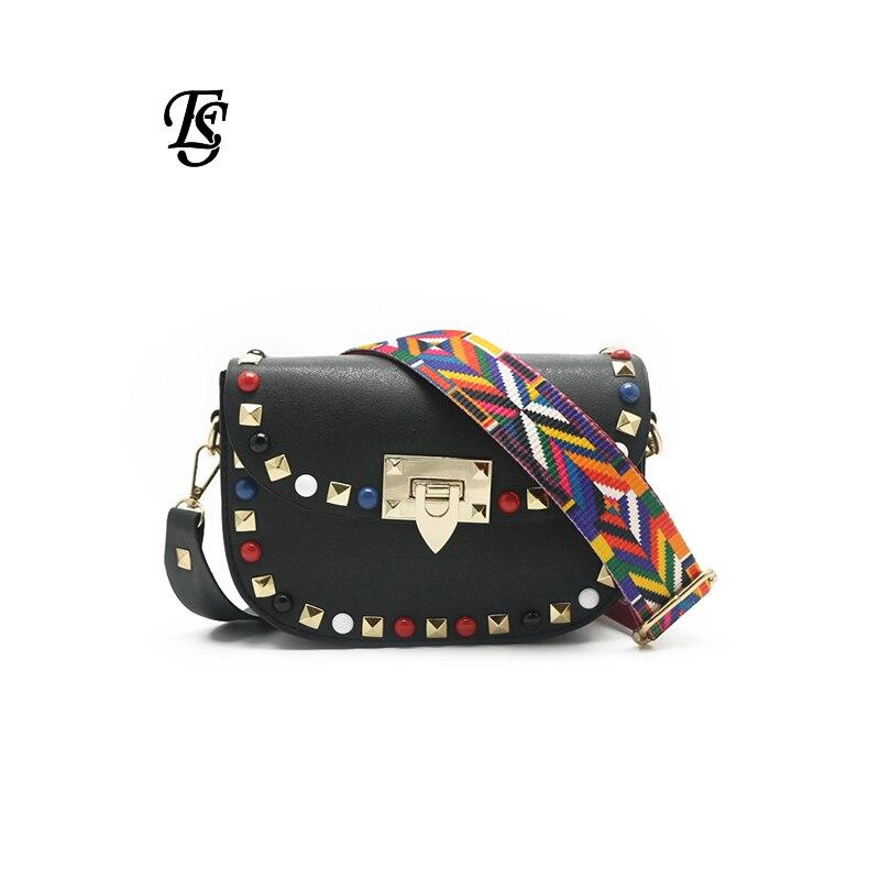 Image 2 - E.SHUNFA Pu Leather Shoulder Bag For Women Black Small Bag  Crossbody Bag Color Shoulder Strap Luxury Bag Women Bag  DesignerShoulder Bags