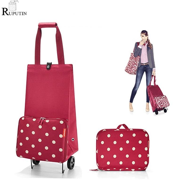Женская сумка для хранения продуктов, большая Портативная Сумка-тележка для покупок, складной органайзер для багажа на колесиках
