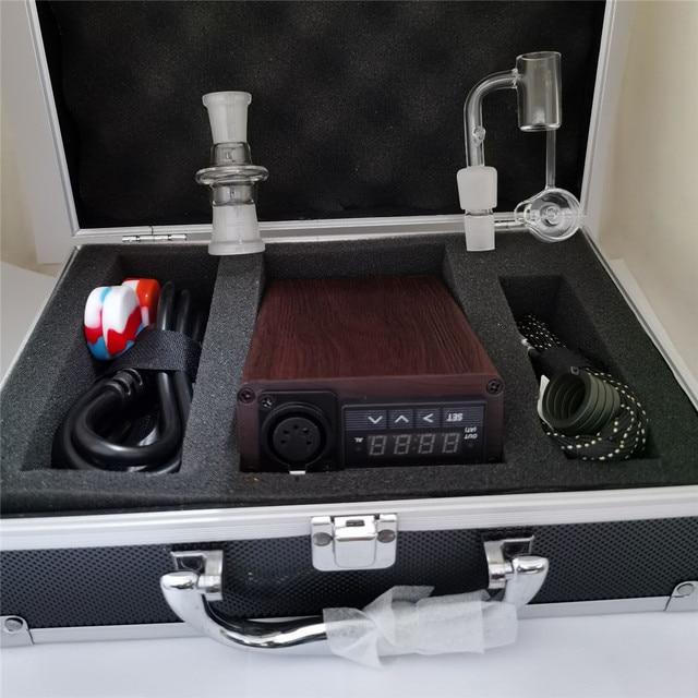 Best Quartz Enail Dab Kit Electric Dab Rig Wax Pen Wood Pattern PID Controller with Heater Coil Quartz Nail for Glass Bongs