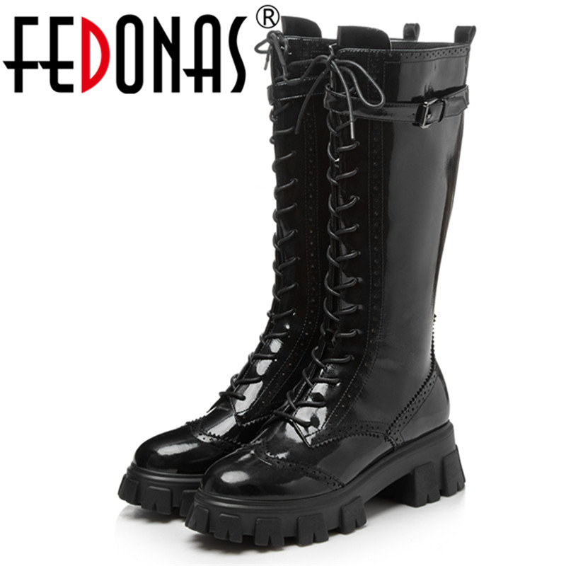 FEDONAS Punk Women Cross Tied Mid-Calf Boots Female Night Club Shoes Woman Platform Boots Warm Genuine Leather Motorcycle Boots