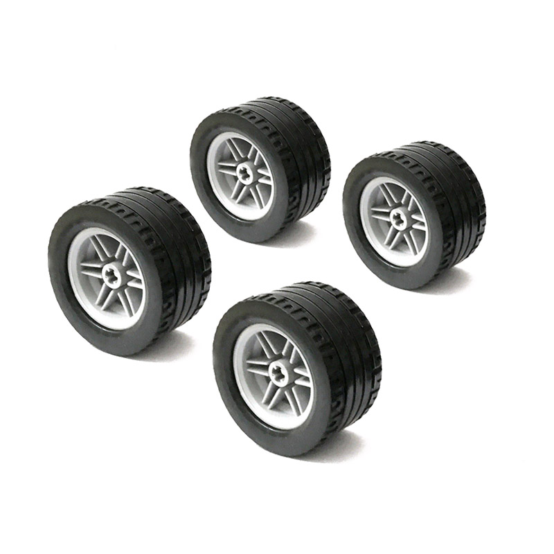 4Pcs MOC Technic Tire Wheel Cross Hole Compatible With 44309 56145 Technic Parts Toys For Children DIY Car Truck Accessory