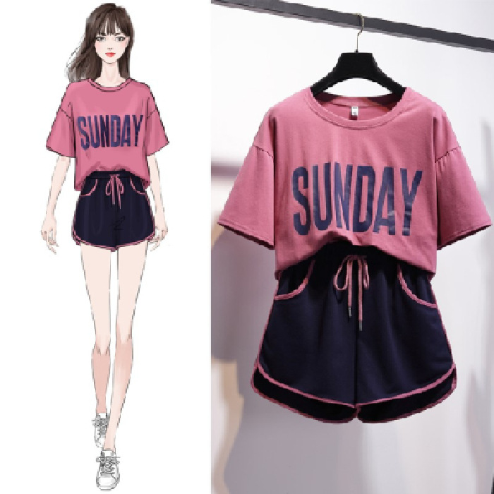 Students Korean-style WOMEN'S Suit 2020 New Style Summer Short-sleeved Shorts Fashion & Sports Loose-Fit Western Style Casual Tw