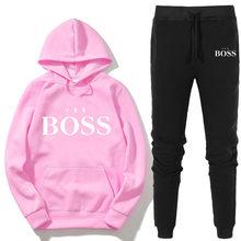Chándal de moda Yes Boss para mujer, conjunto de 2 piezas, jersey con capucha + Pantalones, traje deportivo, sudadera, ropa deportiva