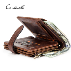 CONTACT'S Luxury Brand Men Wallet Genuine Leather Bifold Short Wallet Hasp Casual Male Purse Coin Multifunctional Card Holders