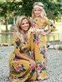 Langarm Passenden Mutter Tochter Kleid Kleidung Floral Mama Und Mich Familie Aussehen Lange Kleid Hochzeit Party Herbst Frauen Mädchen