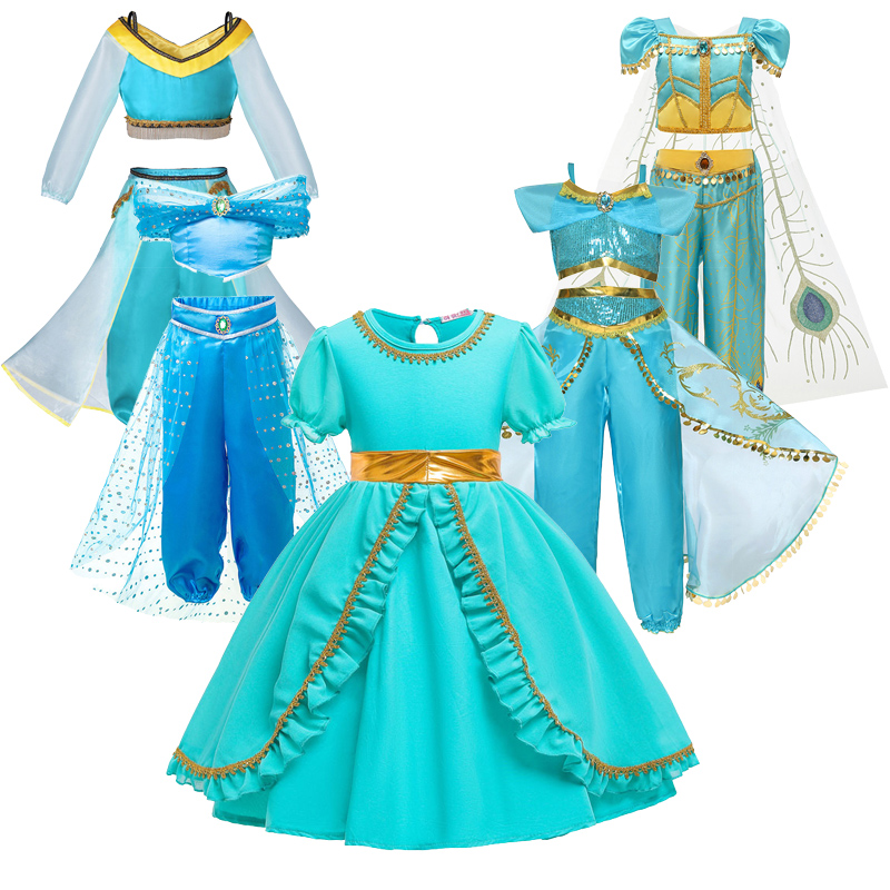 Dress For Girls Jasmine Dress Kids Princess Costume Children Carnival Birthday Party Clothes Cosplay Clothing Accessory WigDresses   -
