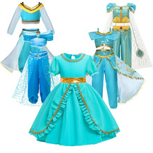 Summer Dress For Girls Jasmine Dress Kids Princess Costume Children Carnival Birthday Party Clothes Cosplay Accessory Wig
