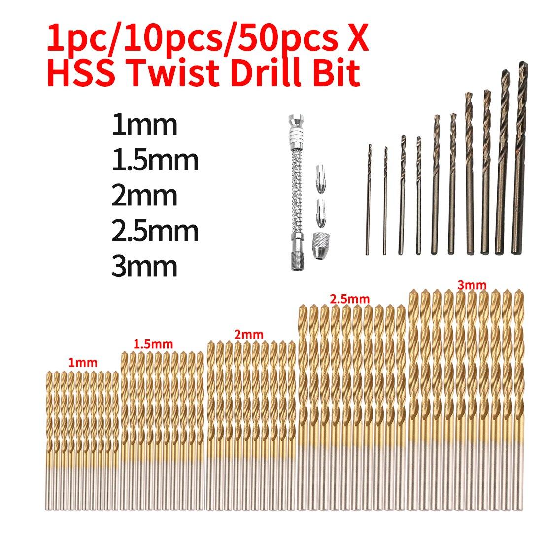 1mm 1.5mm 2mm 2.5mm 3mm HSS High Speed Steel Twist Drill Bit Set Tool For Wood / Metal/ Aluminum 1pc/10pcs/50pcs
