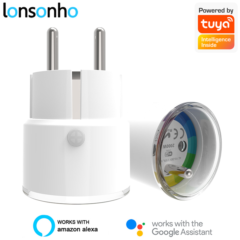 Lonsonho Tuya Smart Plug Mini WiFi Smart Socket 10A 16A Type E France EU Plug Smart Home Automation Compatible Alexa Google Home