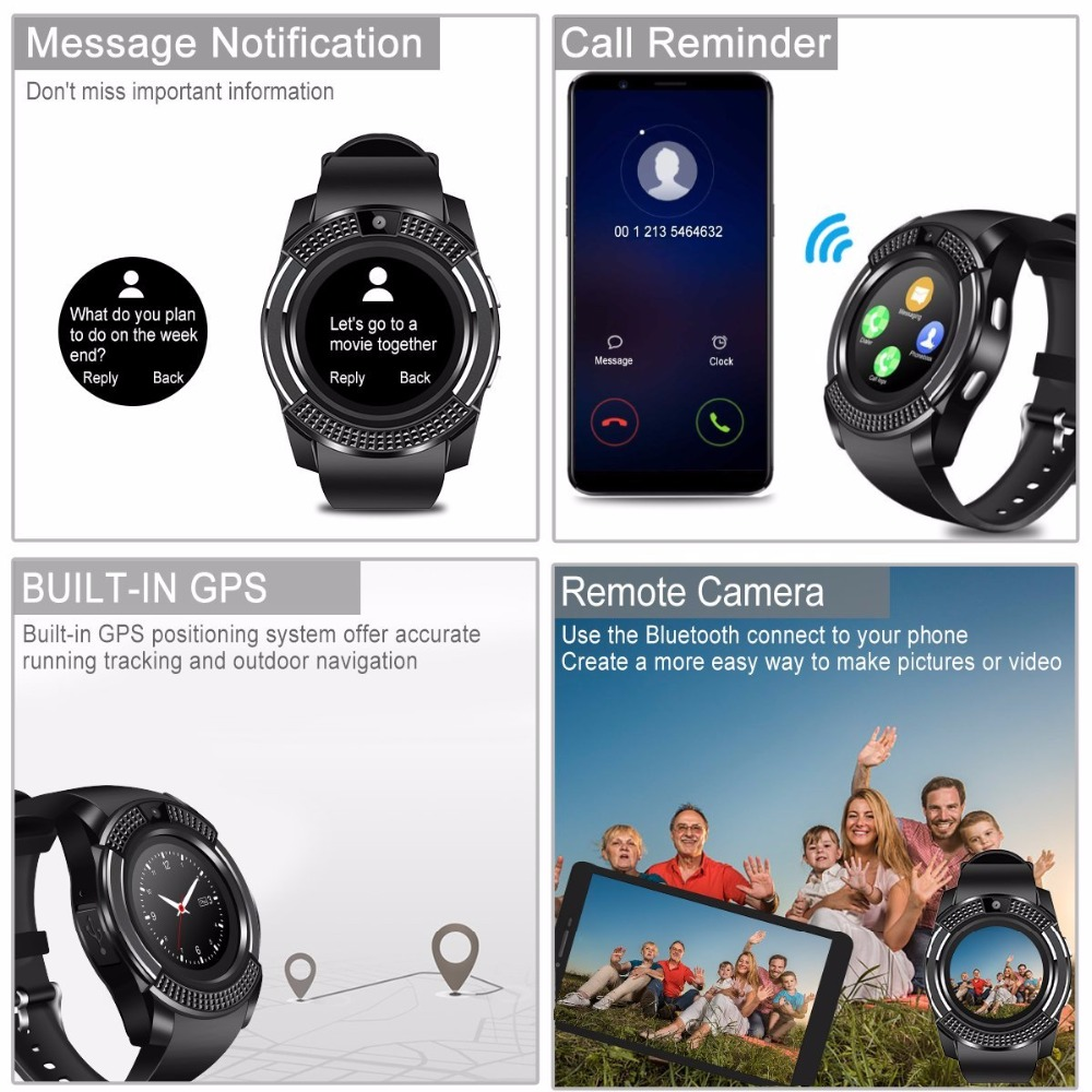 smart watch Bluetooth touch screen Android waterproof sports men and women smart watch with camera SIM card slot PK DZ09