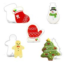 5pcs/set Christmas Tree Snowman Stainless Steel Cookie Biscuit Cutter Pastry Cake Decor Baking Fondant DIY Mold Tools christmas tree cookies cutter stainless steel biscuit cake mold baking tools