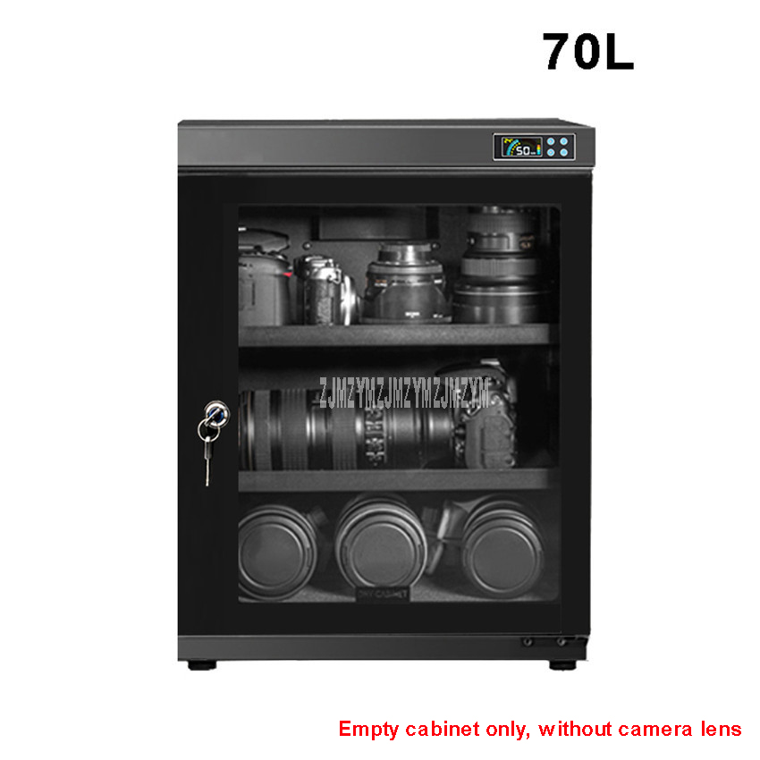 70L Full Automatic Electronic Dry Cabinet Box SLR Camera Lens Dehumidify Drying Moistureproof Cabinet Touch LED Display Screen