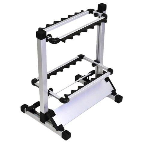 12 slots vara de pesca rack titular liga aluminio vara de pesca polo suporte de