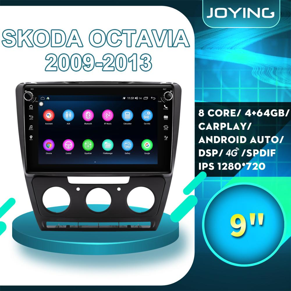JOYING 9Android Radio Car Stereo Auto 1 DIN DVR Accessories For Skoda Octavia 2 A5 2009-2013 GPS Multimedia Player Navigation image