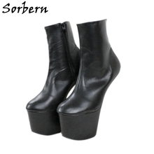 Ankle-Boots Matte Sorbern Hoof-Heels Black Womens for Unisex Lady Gaga Ladies