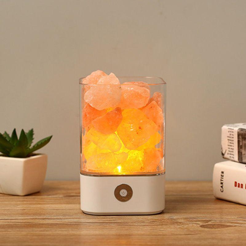 USB LED Crystal Salt Light Natural Air Purifier Relieve Fatigue Stress Creator Indoor Warm Lighting Lava Lamp Bedroom Office