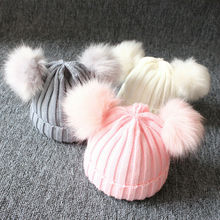 купить 2019 1-3 Years Newborn Baby Kid Boy Girl Winter Warm Knit Beanie Hat Fur Pom Crochet Hemming Cap Casual Kids Knitted Hats онлайн