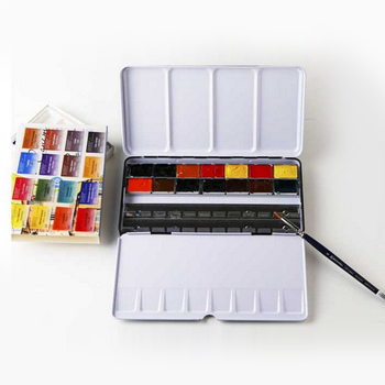 48 Gird Empty Watercolor Tins Pans Palette Paint Case Water Color Box for Children Artist Student Drawing Painting Supplies фото