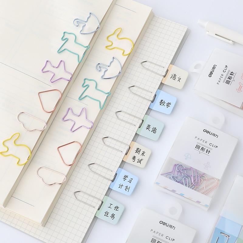 JIANWU Creative Modell Metal Clips Cartoon Shape Paper Clips Color Clips Mini Clips Multifunctional Metal Bookmark Kawaii