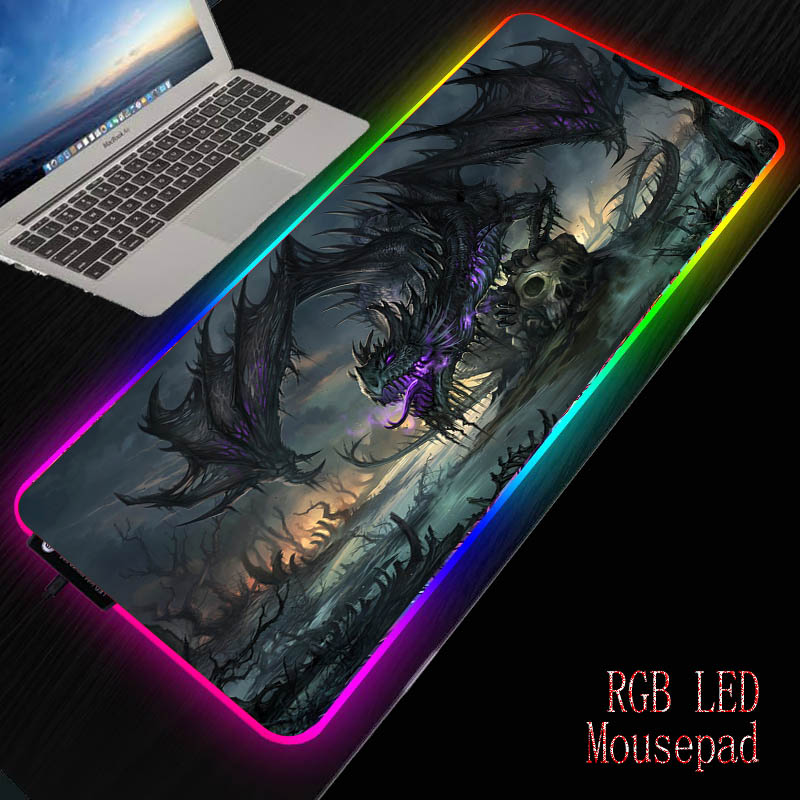 Mairuige Dragon Skull Gaming Computer Mousepad RGB Large Mouse Pad  Big Illuminate Mause Pad PC Desk Play Mat With LED Backlit