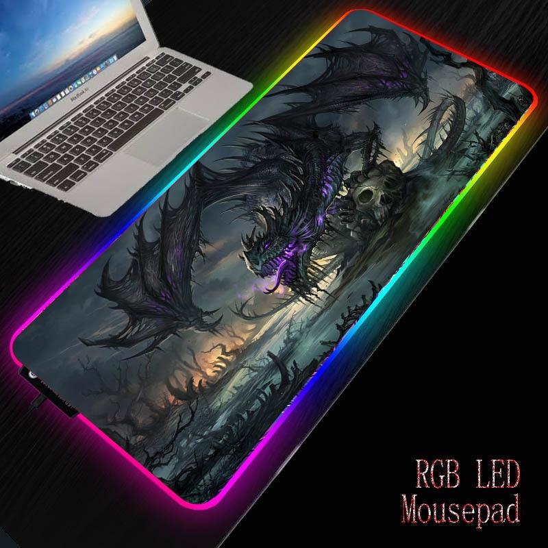 Mairuige Dragon Skull Gaming Computer Mousepad RGB Large Mouse Pad  Big Illuminate Mause Pad PC Desk Play Mat With LED Backlit