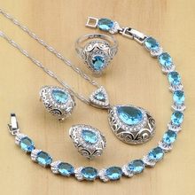 925 Sterling Silver Bridal Jewelry Sets Blue Cubic Zirconia Decorations For Women Wedding Earring/Pendant/Necklace/Ring/Bracelet