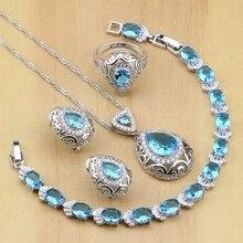Ensembles de bijoux de mariée en argent Sterling 925, en zircone cubique, décorations pour femmes, boucles doreilles, pendentif, collier, bague, Bracelet