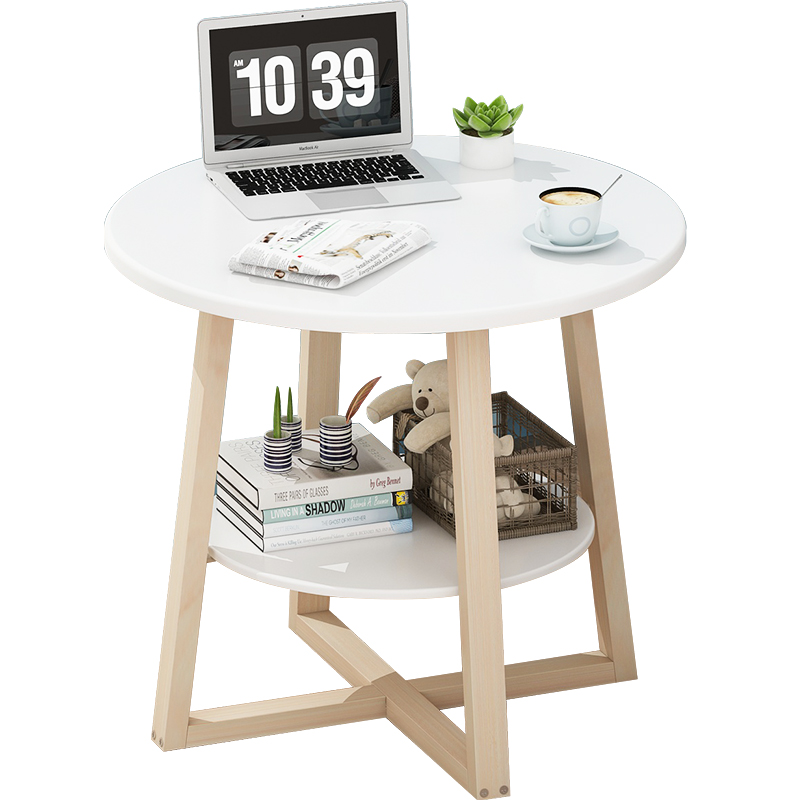 Double Layer Nordic Coffee Table Modern  Small Round Table Creative Simple Small Apartment Balcony Wood Tea Table Desk
