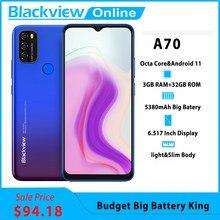 Blackview A70 Android 11 смартфон 5380 мАч большая Батарея Octa Core, 3 Гб оперативной памяти, Оперативная память + 32 ГБ Встроенная память 6,517 дюймов Дисплей 13MP...
