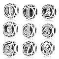 Подлинные серебряные браслеты с цифрами 0, 1, 2, 3, 4, 5, 6, 7, 8, 9, Оригинальные европейские браслеты с шармами, серебряные украшения для самостояте...