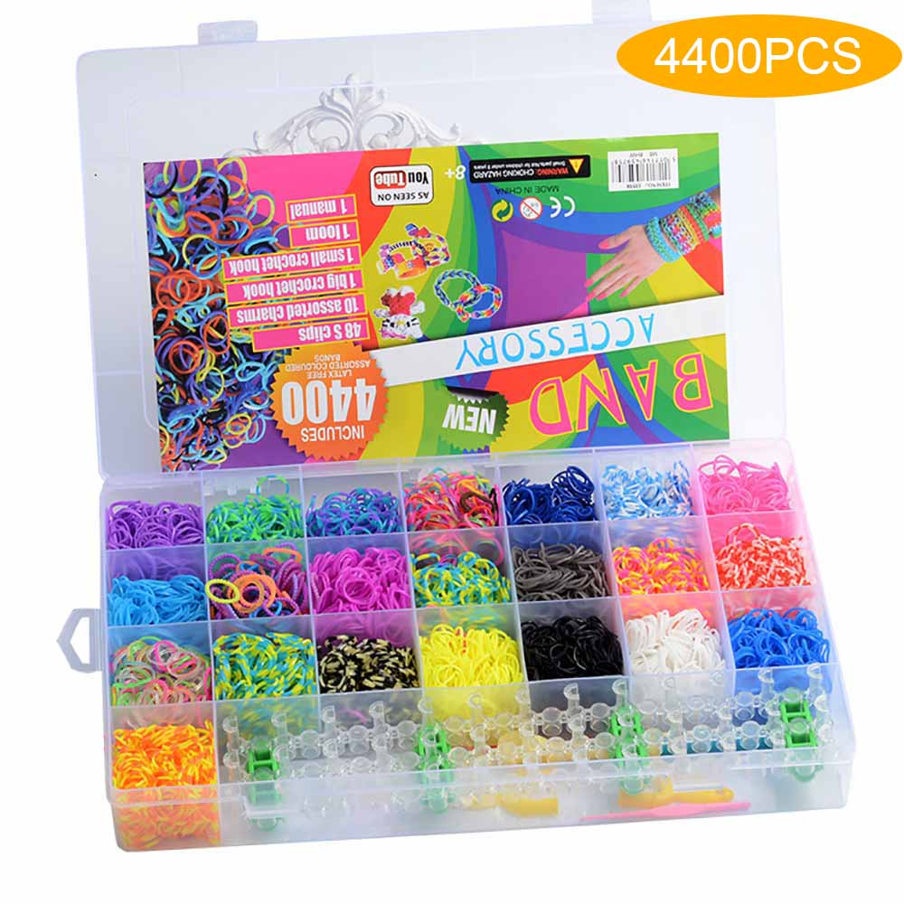 4400 pz telaio elastici braccialetto per bambini capelli arcobaleno colore elastici telaio in gomma fare braccialetto tessuto giocattoli fai da te Set regalo per bambini fai da te