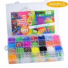4400 pçs tear bandas de borracha pulseira para crianças cabelo arco-íris cor de borracha tear bandas fazer tecido pulseira diy brinquedos conjunto crianças presente diy
