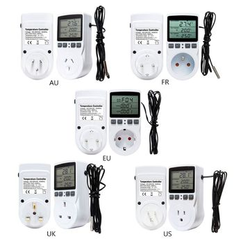 16A 220V Thermostat Digital Temperature Controller Multi-Function Socket Outlet with Timer Switch Sensor Probe Heating Cooling digital thermostat 50 110c temperature controller switch ac110 220v with socket