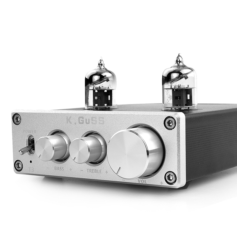 Kguss T3 Mini Preamp <font><b>Tube</b></font> Amplifier Buffer 6J1 Hifi Audio <font><b>Preamplifier</b></font> Dc12V Treble Bass Adjustment Pre-Amps--Us Plug image