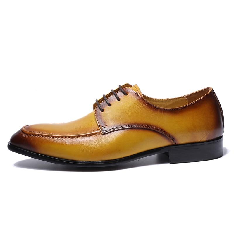 Wielka wyprzedaż prawdziwa prawdziwa skóra mężczyzna Derby buty żółty zwykły Toe gumowa podeszwa na co dzień biznes obuwie męskie buty sukienka Lace w górę w Buty wizytowe od Buty na  Grupa 3