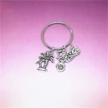 Gift for Her/him, Anniversary Gift, Wedding Gift, Coconut Tree Charm,Couples Keychain, Vacation Gift image