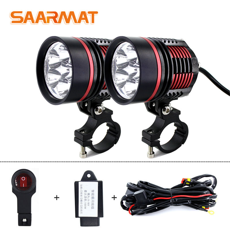 1set Motorcycle Spotlights Fog DRL Lamp Led Glare Waterproof Flashing External  Modification Auxiliary 12V BMW Rogue Lights 60W