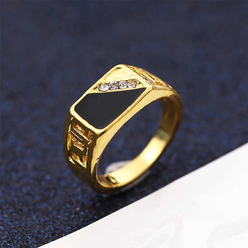 ชุดเจาะ Cool แฟชั่นแหวนผู้ชายเรียบง่ายหรูหราทองเงิน Rhinestone Aolly เครื่องประดับของขวัญ