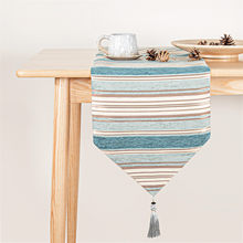 Topfinel Table Runners Colorful Stripes With Tassels Chenille Canvas Fabric Wedding Tablecloth For Outdoor Home Decor.