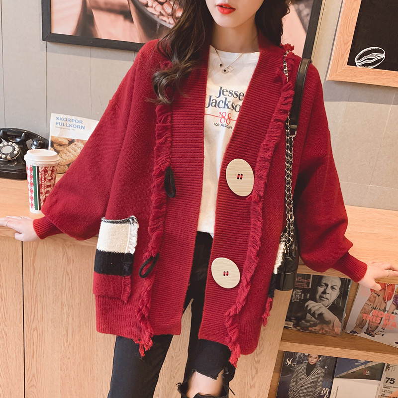 Autumn Winter Fashion Tassel Sweater Overcoat Womens 2019 Single Breasted Loose Knitted Cardigan Oversized Sweater Jumpers