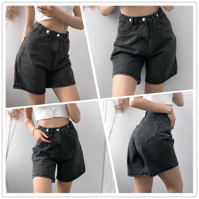 FTLZZ New Summer Women High Waist Button Wigh Leg Jeans Shorts Casual Female Loose Fit Blue Denim Shorts 6