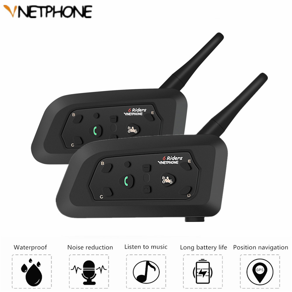 2pcs 2019 V6 Motorcycle Walkie Talkie Bluetooth Helmet Headset For 6 Rider Interphone 1200M Wireless Radio Comunicador Moto MP3