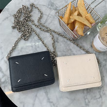 Mulheres de couro genuíno bolsa de metal cinta de corrente bolsa de peito bolsa de ombro de luxo mini marca lady messenger bag