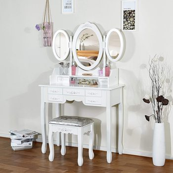 Dressing Table Bedroom Furniture Makeup Mirror Makeup Table in MDF with 7 Drawers and 3 Oval Rotatable Mirrors Stable Feet