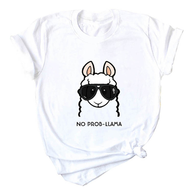 2019 Summer T Shirt Women No Prob Llama T-Shirt Cute Cartoon Tops Print O Neck Short Sleeve Kawaii Korean Style Tee Shirt Femme