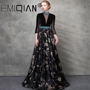 Image 1 - Brilliant Black Beaded Evening Dress,3/4 Sleeves Illusion V Neck Figured Satin Evening Gowns,Open Back Velvet Formal Party Dress