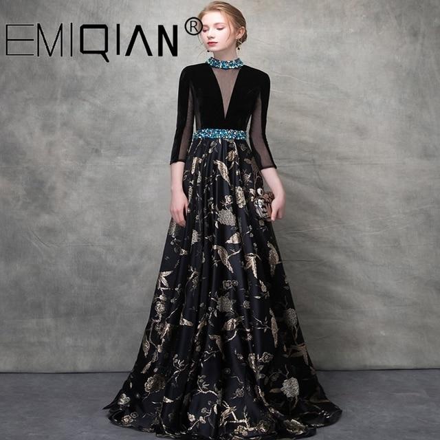 Brilliant Black Beaded Evening Dress,3/4 Sleeves Illusion V Neck Figured Satin Evening Gowns,Open Back Velvet Formal Party Dress