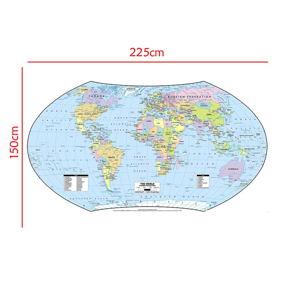 150x225cm The World Map Hammer Projection Country Map With Capital Vinyl Spray Map