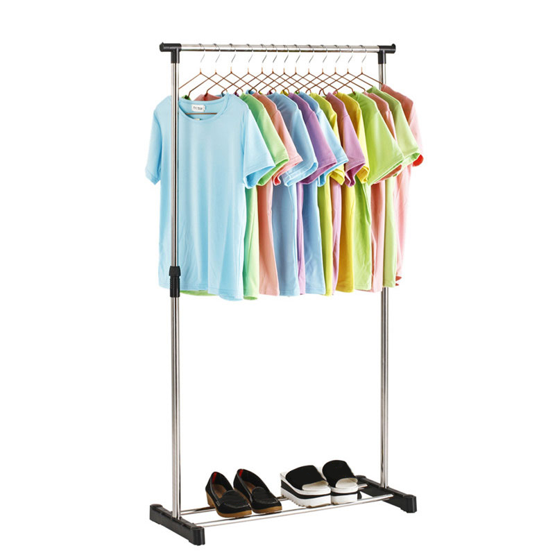 Simple Folding Clothes Hanger Movable Assembled Coat Rack Stand Adjustable Clothing Closet Bedroom Living Room Perchero De Pie